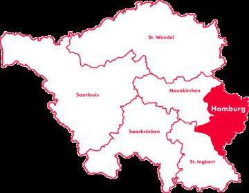Karte Kreis-Chorverband Homburg