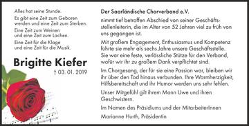 Der Saarländische Chorverband trauert um Brigitte Kiefer