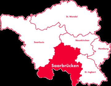 Karte Kreis-Chorverband Saarbrücken
